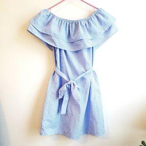 Dresses & Skirts - Blue White Off Shoulder Mini Dress S Summer Sun 💖